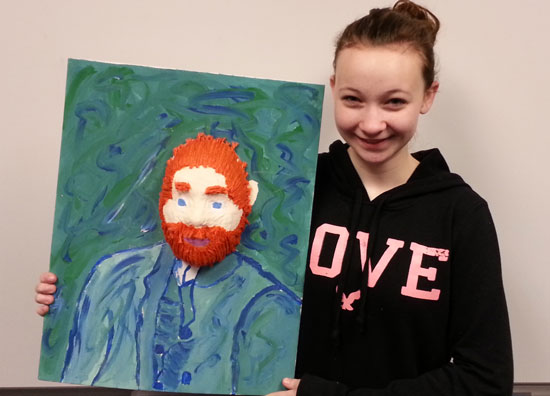 Adrianna Fico and her award-winning artwork, which is based on a famous portrait of painter Vincent Van Gogh. /Submitted photo