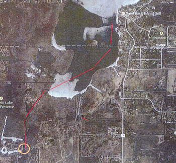 The red line on this map shows the approximate location of where vegetation will be treated to open up a channel. /Map courtesy of Twin Lakes.