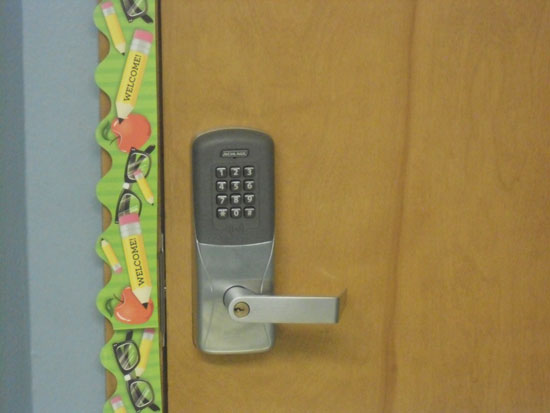 "This is a new classroom door locking system that can automatically be locked with the touch of a button should a ""lock down"" situation occur. /Contributed photo"