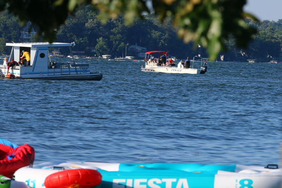 A pontoon boat marked the spot where the boat sank until police could get to the spot. The boat isn't very deep.