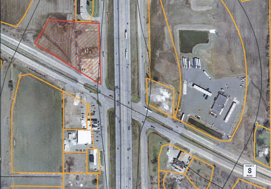 The location of the proposed Highway 142-I-94 Park and Ride lot is shown here in cross hatched orange.
