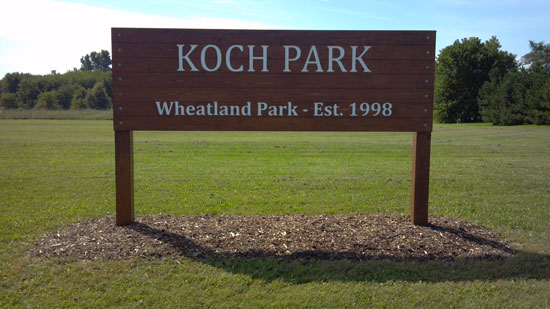 The sign Scout Robert Ehr created for Koch Park. /Contributed photo