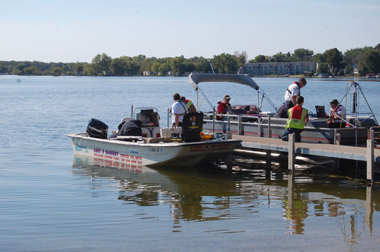 Boats prepare to join the search for David Spoor Wednesday morning.