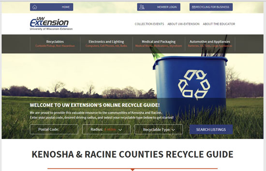 A screenshot of the kensoharacinerecycles.org homepage