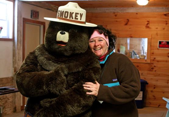 Smokey Bear and Nan Calvert, director of education at the Seno Kenosha/Racine Land Trust Conservancy