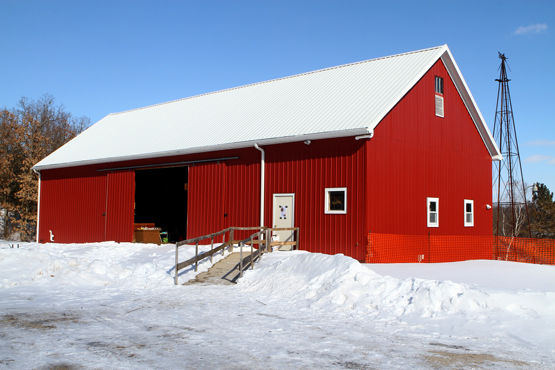The open house was in the basement of the barn, with its new roof.