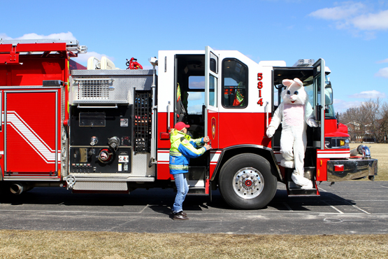 The Easter Bunny arrived with Salem Fire.