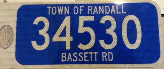 A sample address sign.