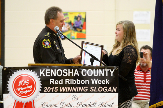 Sheriff David Beth presented Carson  Doty with the proclamation from County Executive Jim Kreuser.