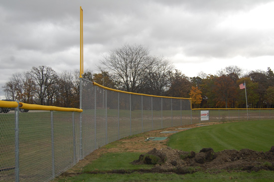 A portion of the new outfield fencing at Brightondale to accommodate The Show system.