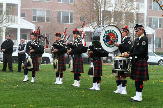 Kenosha Area Pipes and Drums Association played Amazing Grace.