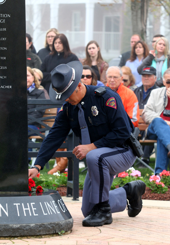 Wisconsin had two line of duty deaths last year. Trooper Trevor Casper, Wisconsin State Patrol, and Officer Ryan P. Copeland, McFarland Police Department, were remembered with roses placed on the memorial.