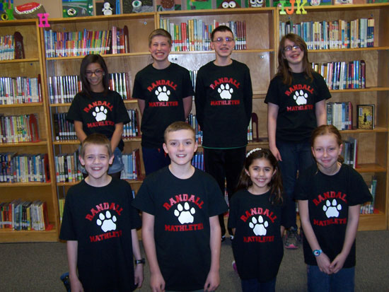 Randall School  ​5th/6th grade math team. Back Row (L-R) Jazmin Fisher, Chase Kocken, Blake Weaver, Ruth Ake Front Row (L-R)​ Josh Brendel, Chase Meyers, Kaelyn Patterson, Grace Bednar. /Submitted photo