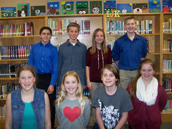 Randall School 2016 7th/8th grade math team: Back row (L-R) Blake Zager, Ryan Stalker, Claire Vozel, Shane Vacala Front Row (L-R): Sydney Youra, Ana Bishop, Jacob Loose, Kimmy Zender. /Submitted photo