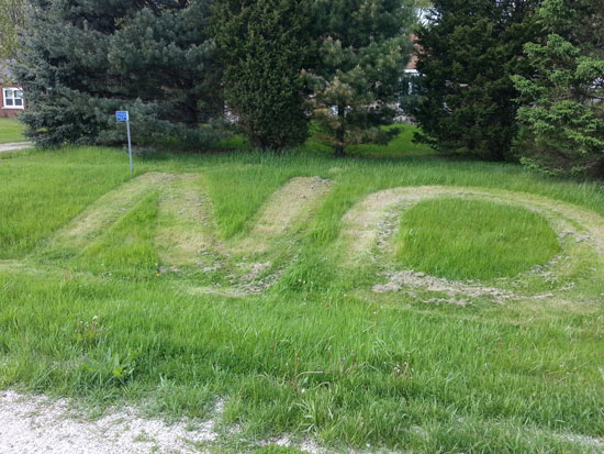 Someone carved this message into the lawn of this Wheatland house where the state would like to place a sex offender on supervised release. Photo taken Sunday afternoon.