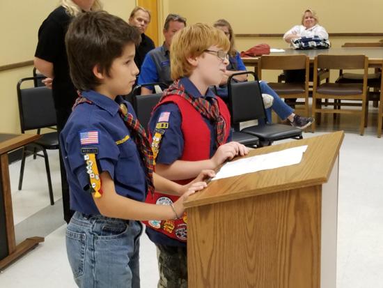 Pack 328 Cub Scouts Sam Semke and Layne Gauger address the Silver Lake Village Board.