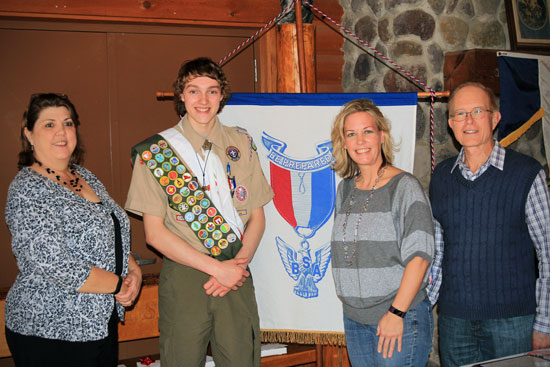 Colten Greenhill was awarded several certificates of recognition at his Eagle Scout Court of Honor. Pictured are (from left) Diann Tesar, Eagle Scout Colten Greenhill, state Rep. Samantha Kerkman and county Supervisor John Poole. /Submitted photo